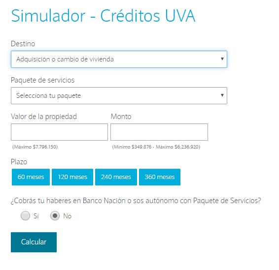 Calculador Crédito Hipotecario Banco Nación